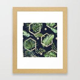 Tropical navy blue & gold Framed Art Print