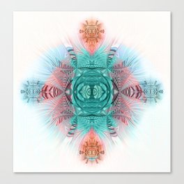 Sacred Geometry Feathered Pastel Mandala Canvas Print