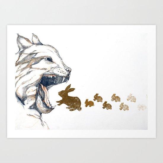 Linx vs. Rabbit Art Print