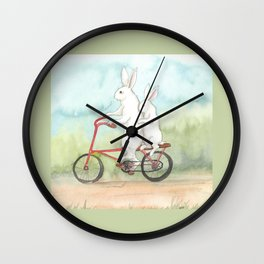 Bunnies on a Bicycle Wall Clock