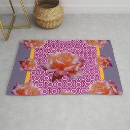 GREY ABSTRACT ANTIQUE ROSES FUCHSIA FLORAL Rug