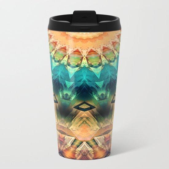 Colorful Abstract Sun Metal Travel Mug