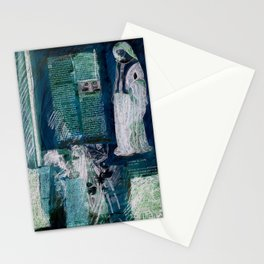 Medieval Moonlight Siren, Digital Collage Drawing Stationery Cards