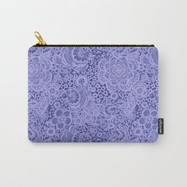 Birds and flowers in Blue Grey Lace Carry-All Pouch