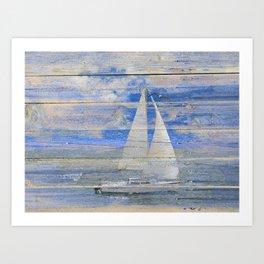Sailboat Sailing Beach House Lake House Print Coastal Art A462 Art Print