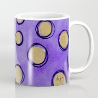 gold dots Mugs featuring Dots (Purple & Gold) by HollyJonesEcu