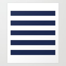Space cadet - solid color - white stripes pattern Art Print