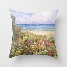 Flowers on the Beach Throw Pillow