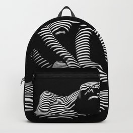 0111-DJA Abstract Nude Black & White Light Zebra Pattern Slender Woman Beautiful Body Flow Backpack