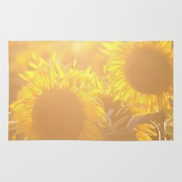 Glowing in Sunlight Sunflower Photography Rug