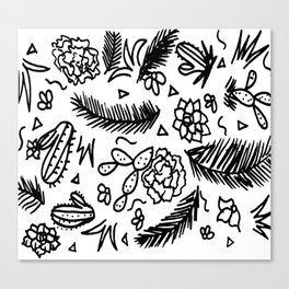 Doodle Cactus Tropical doodles of fun Canvas Print