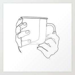 """"""" Kitchen Collection """" - Hands Holding Hot Cup Of Coffee/Tea Art Print"""