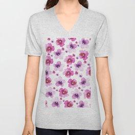 Hand painted blush pink lavender watercolor floral Unisex V-Neck