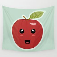 kawaii Wall Tapestries featuring Kawaii Apple by Nir P