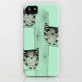 Owls (green) iPhone Case