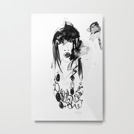 Face Of A Young Woman Metal Print