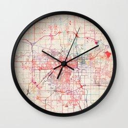 Lansing map Michigan painting Wall Clock