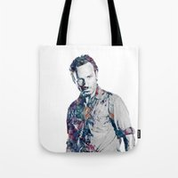 grimes Tote Bags featuring Rick Grimes by NKlein Design