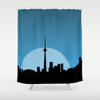 moonrise Shower Curtains featuring Moonrise  by Halfmoon Industries