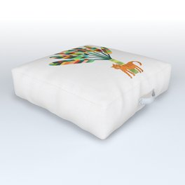 Whimsical travelers palm with tiger Outdoor Floor Cushion