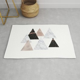 Marble rose gold geometric triangles Rug