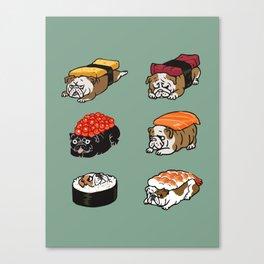 Sushi English Bulldog Canvas Print