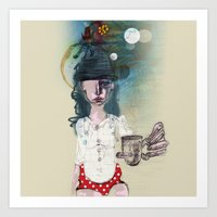 polka Art Prints featuring Polka by geline_illustration