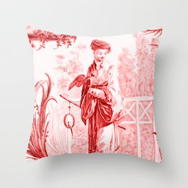 Chinoiserie Toile in Red Throw Pillow