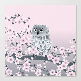 Cute Owl and Cherry Blossoms Pink Gray Canvas Print
