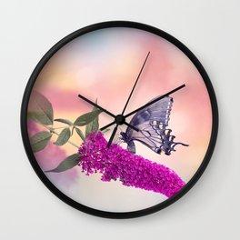 Black Swallowtail Butterfly Feeds on purple flowers Wall Clock