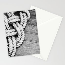 Nautical Rope Mat on Wet Wood Stationery Cards