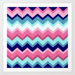 Rose and Blue Zigzags Art Print