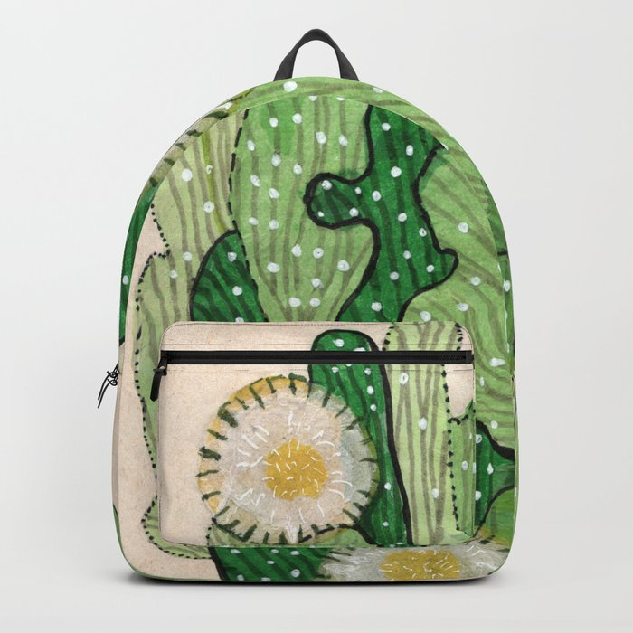 Blooming cactus, white & green, floral art Backpack