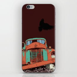Art print: The old vintage car, the Raven and the Wolf skull iPhone Skin