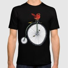 bird on a bicycle. Black MEDIUM Mens Fitted Tee