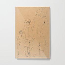 Egon Schiele - Schiele with Nude Model before the Mirror Metal Print