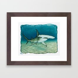 """Great Hammerhead Shark"" by Amber Marine ~ Watercolor Painting, (Copyright 2016) Framed Art Print"