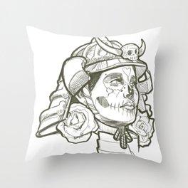 Skull Candy Samurai Throw Pillow