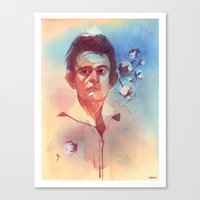 johnny cash Canvas Prints featuring Johnny Cash by Liz O'Connor