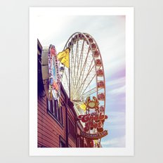 The Crab Pot and Seattle Great Wheel Art Print