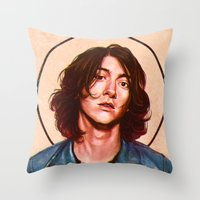 alex turner Throw Pillows featuring Alex Turner by Varsha Vijayan