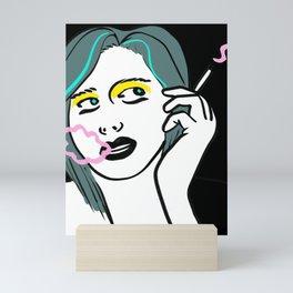 smoking woman Mini Art Print
