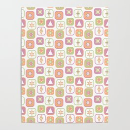 Abstract geometric pattern in pastel colors Poster