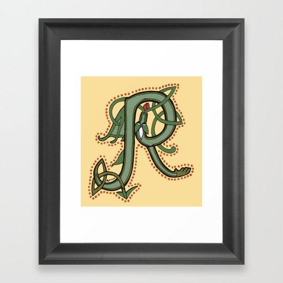 Celtic Dragon Letter R Framed Art Print