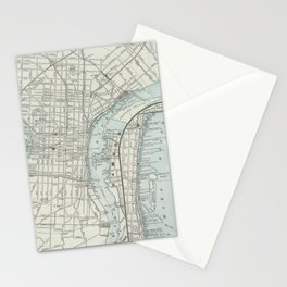 Vintage Map of Philadelphia PA (1889) Stationery Cards