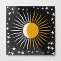Lunar-Sol Flower Of Life Sun Moon & Stars Black White Yellow by inspiredimages