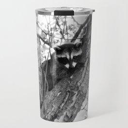 Baby Raccoon black and white Travel Mug