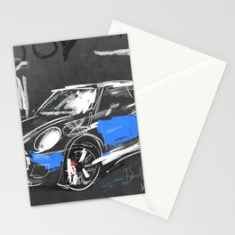 Scribble mini car on chalkboard Stationery Cards