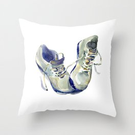 Sports equipment shoes sneakers for training, gym, tennis, running. Watercolor hand-drawn sketch. Throw Pillow