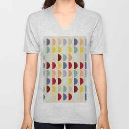 Semi circles multicolor geometric interior design Unisex V-Neck